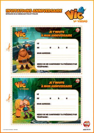 Activité : Imprime vite ton invitation d'anniversaire Vic le Viking. Retrouve Vic, Halvar, et Ylvi pour fêter ton anniversaire ...