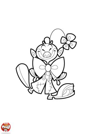 Coloriage: Clown à la fleur