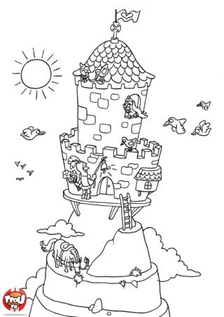 Coloriage: Château dans le ciel