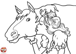 Coloriage: Fée et son cheval
