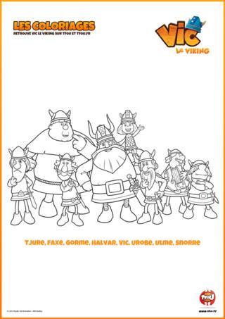 Imprime vite ton coloriage de Vic et de ses amis : Tjure, Faxe, Gorme, Halvar, Vic, Urobe, Ulme, Snorre ...