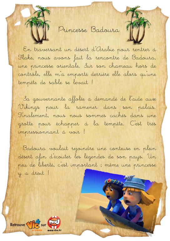 Carnet de bord_Vic le viking_Princese Badoura