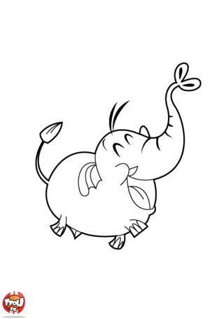 Coloriage: Eléphant rigolo