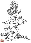 Fée sur son oiseau