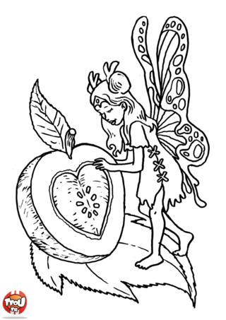 Coloriage: Fée et pomme d'amour