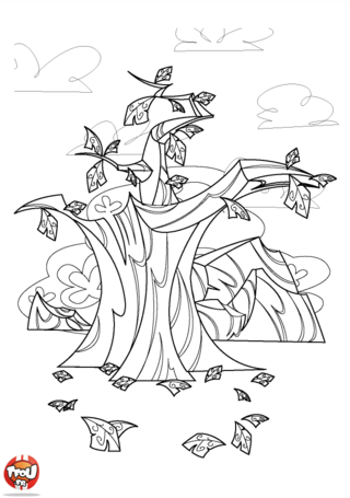 Coloriage : Cet arbre a perdu presque toutes ses Feuilles d'automne. Imprime vite ce coloriage Feuilles d'automne et redonne lui de superbes couleurs automnales.