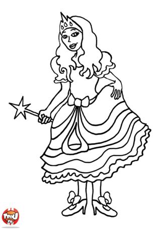 Coloriage: Fée en tenue de bal