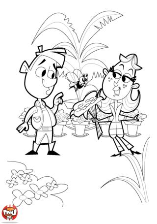 Coloriage: Fleuriste et bouquet