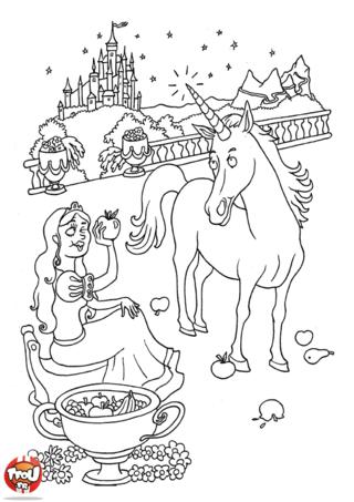 Coloriage: Fée et sa licorne