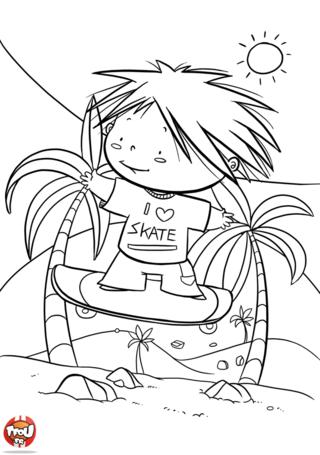 Coloriage: Skate à la plage