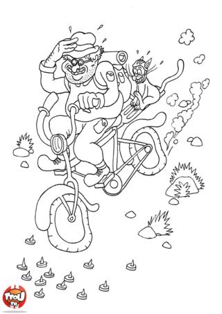 Coloriage: A vélo dans la pente