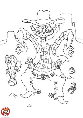 Coloriage: Cowboy avec cactus