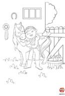 Coloriage-petite fille et son poney