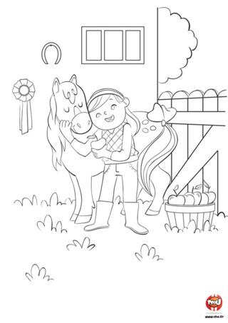 Tu es fan de poney ? Découvre vite ce super coloriage de poney gratuit pour enfant sur tfou.fr. Cette petite fille est très heureuse de jouer avec son gentil poney. Elle lui donne des pommes à manger et lui fait des caresses. Son poney porte un joli petit noeud sur la queue, et a une crinière bien brossée. Dehors, il fait beau. La petite fille et son petit poney n'attendent que toi pour t'amuser avec eux et leur mettre plein de couleurs !
