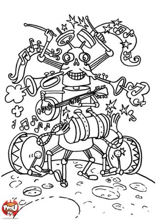 Coloriage: Robot musicien