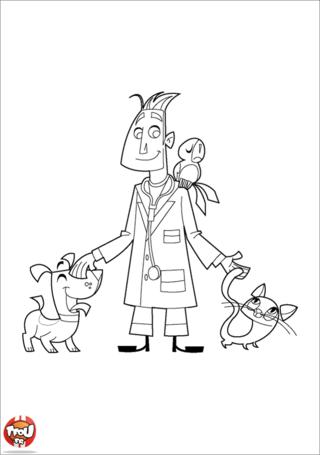 Coloriage: Vétérinaire et animaux