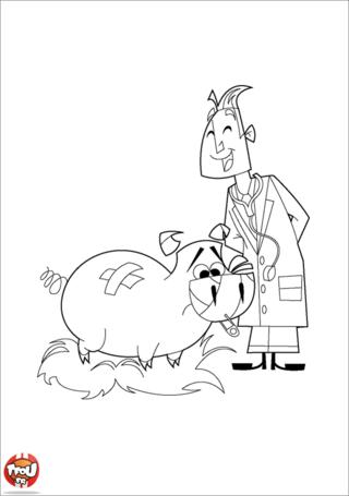 Coloriage: Vétérinaire et cochon