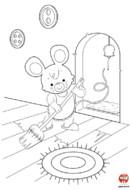 Coloriage-Maman souris nettoie