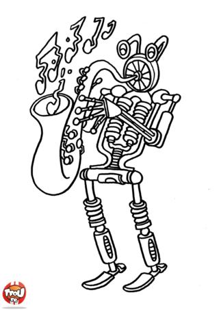Coloriage: Robot saxophoniste