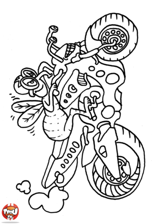 Coloriage: Abeille en moto