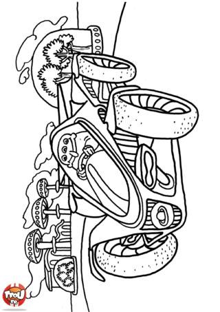 Coloriage: Martien en voiture 2