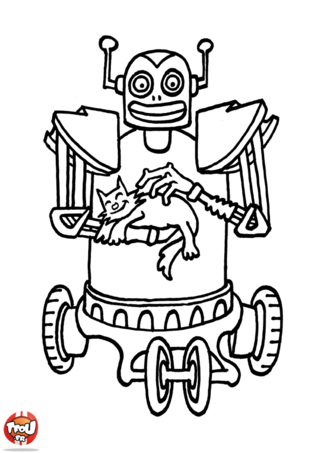 Coloriage: Robot et chat