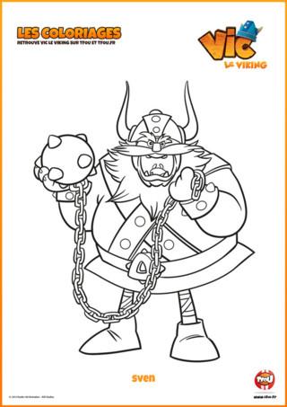 Imprime vite ton coloriage Sven, le chef des frissons dans ta série Vic le Viking. Sven transpire la cruauté et n'hésite pas à promettre qu'il dévalisera les vikings ...