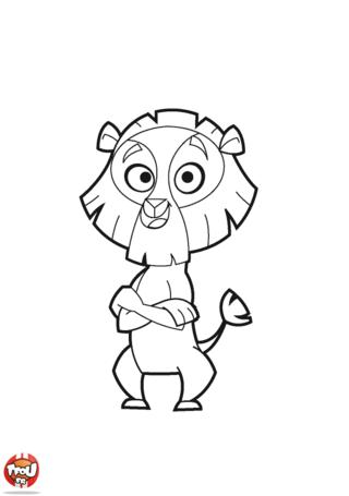 Coloriage: Lion les bras croisés