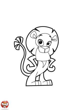 Coloriage: Lion qui prend la pose