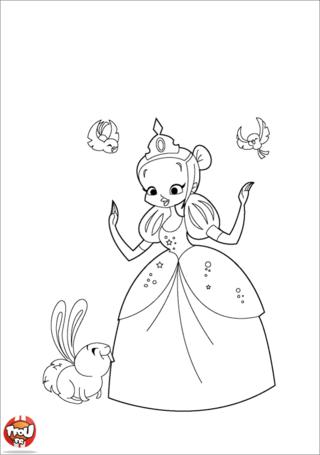 Coloriage: Blanche-Neige et lapin