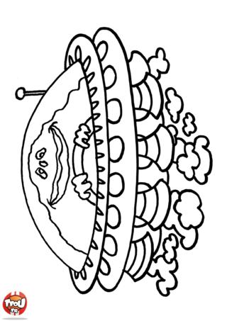 Coloriage: Martien dans sa soucoupe
