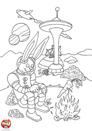 Coloriage: Lapin dans l'espace