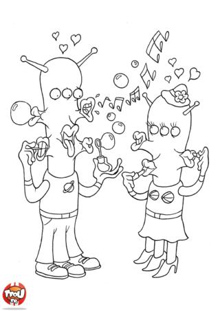 Coloriage: Martiens qui font des bulles