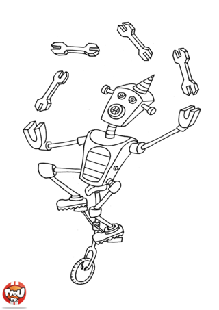 Coloriage: Robot qui jongle
