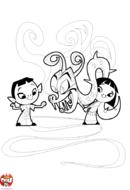 Enfants chinois et dragon