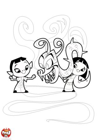 Coloriage: Enfants chinois et dragon
