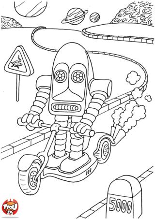 Coloriage: Robot en trotinette