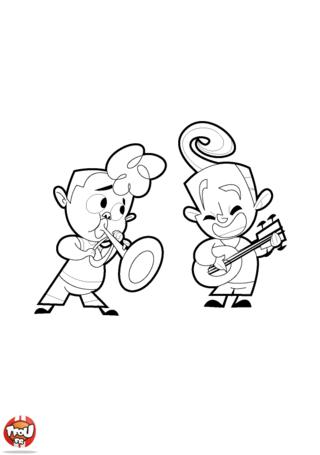Coloriage: Trompette et banjo