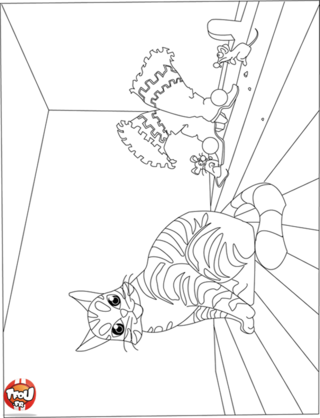 Coloriage: Chat botté sans ses bottes