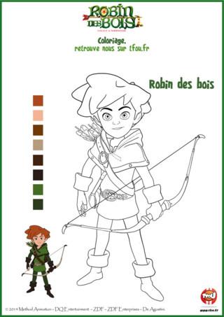 Tu aimes Robin des Bois ? Ce coloriage est fait pour toi ! Va vite sur TFou.fr pour l'imprimer gratuitement. À tout juste 10 ans, Robin a déjà l'étoffe d'un vrai héros. Avec humour et malice, il s'oppose à chacune des machinations du jeune Prince Jean. Mais en noir et blanc il a l'air bien triste... Imprime ce coloriage gratuit pour enfants Robin des Bois et ajoute-y de jolies couleurs. En plus pour t'aider, il y a un modèle de Robin déjà colorié... mais tu peux aussi le colorier avec d'autres couleurs. A toi de colorier !