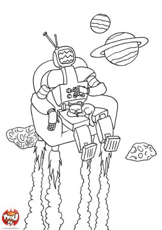 Coloriage: Robot dans son fauteuil