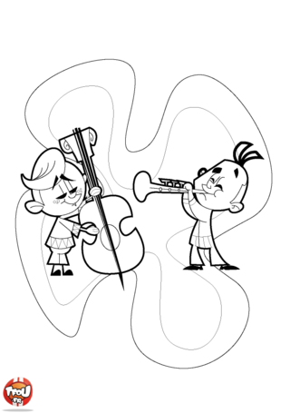 Coloriage: Contrebasse et trompette