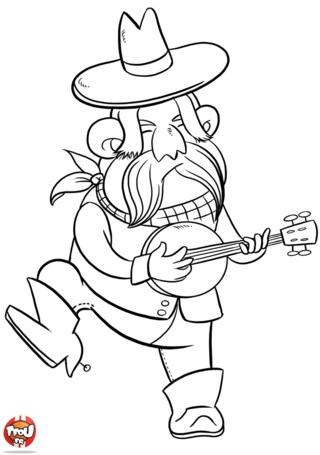 Coloriage: Cowboy au banjo