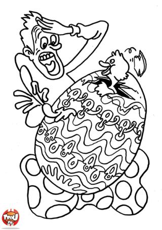 Coloriage: Un poussin dans un oeuf de pâques