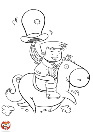 Coloriage: Cowboy à cheval