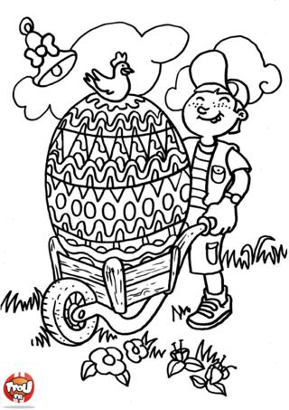 Coloriage: Oeuf de pâques dans une charette