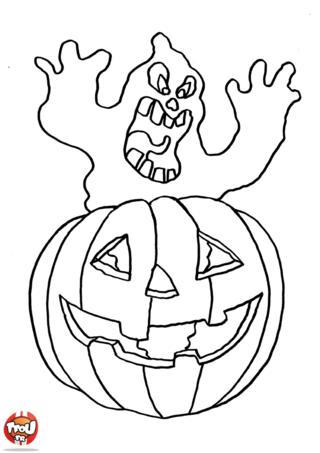 Coloriage: Citrouille d'halloween
