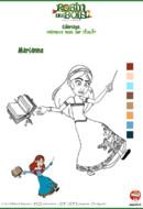 coloriage Robin des bois - Marianne jette un sort