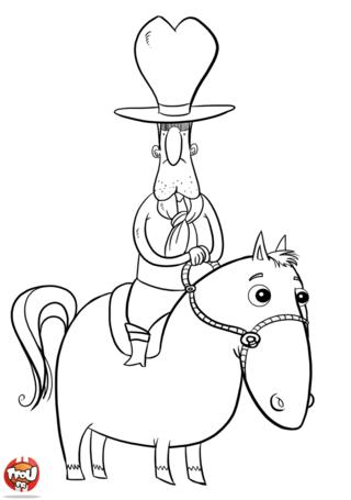 Coloriage: Cowboy au chapeau