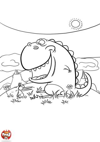 Coloriage: Dinosaure et oiseau